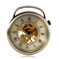 Vintage Wajah Terbuka Steampunk Perunggu Tangan Mesin Jam Generasi Pocket Watch Wind Up Rantai Angka Romawi Wanita Hadiah Yang Indah-Intl