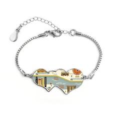 Vintage Singapore Landmark Double Hearts Shape Round-Cut Cubic Chain Bracelet Love Gifts - intl