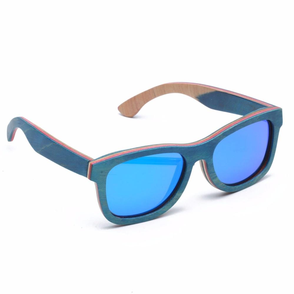 Skateboard Vintage Kacamata Kayu UV400 Terpolarisasi Lensa Biru untuk Pria  atau Wanita-Intl a559e2ba8a