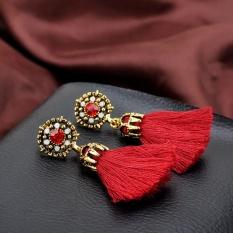 Vintage Style Rhinestones Kristal Rumbai Menjuntai Anting Tindik Fashion Perhiasan RD-Intl