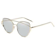 Vintage Women Rose Gold Cat Eye Sunglasses Polarized Brand Design Twin-Beams Optical Sun Glasses WD0875-02(silver) - intl