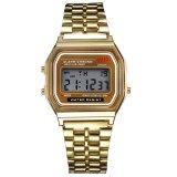 Ulasan Vintage Womens Pria Stainless Steel Digital Alarm Stopwatch Wrist Watch Emas