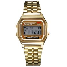 Beli Vintage Womens Pria Stainless Steel Digital Alarm Stopwatch Wrist Watch Emas Murah Di Hong Kong Sar Tiongkok