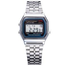 Vintage Womens Pria Stainless Steel Digital Stopwatch dengan Alarm Jam Tangan Silver