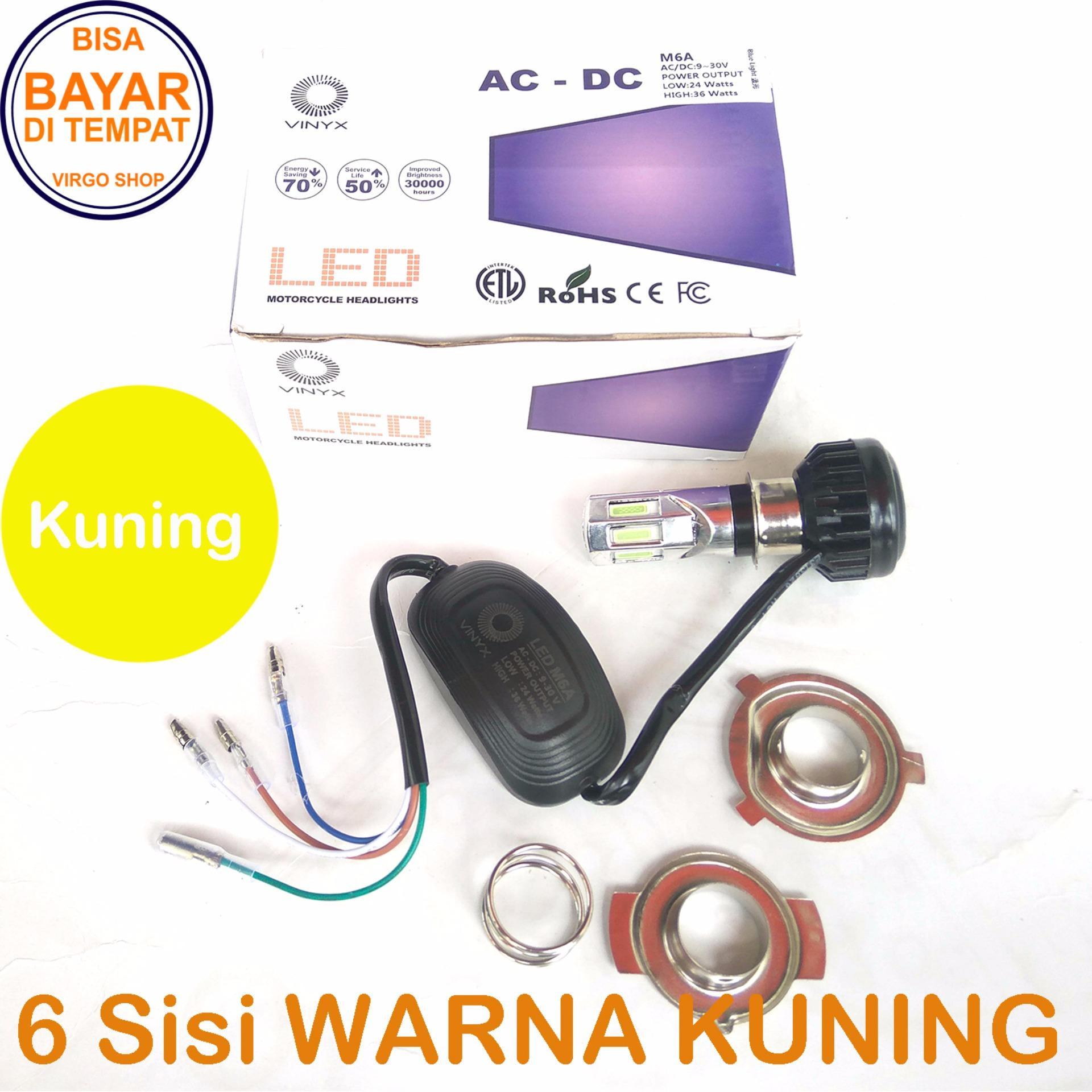 Vinyx Lampu Depan LED 6 sisi AC DC Model M6A Low 24Watt High 36Watt - 6 Mata Merk Vinyx + Kipas - Kuning