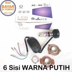 Vinyx Lampu Depan LED 6 sisi AC DC Model M6A Low 24Watt High 36Watt - 6 Mata Merk Vinyx + Kipas - Putih