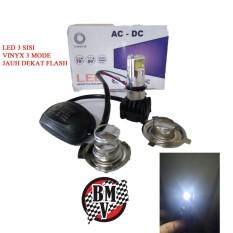 Vinyx Lampu LED 3 H4 Hs1 H6 AC DC 30 Watt 3 Mode High Low Flash - Putih