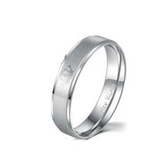 Vishinemall-Raja Ratu Lover's Crown Desain Stainless Steel Cincin Romantis Bling Beauty Gift (Silver) -Intl