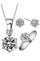 Vivere Rosse 18 K Lapis Emas Putih Klasik Solitaire Perhiasan Tri Set-Termasuk Anting-Anting, Kalung dan Cincin