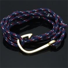 Vogue Keren Unisex Handcrafted Adjustable Nautical Hook Rope Bangle Bracelet Ungu-Intl
