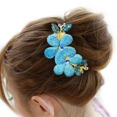 Vogue Fashion Women Lady Girl Flower Alloy Rhinestone Barrette Hair Clip Comb Blue - intl