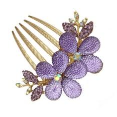 Vogue Fashion Women Lady Girl Flower Alloy Rhinestone Barrette Hair Clip Comb Purple - intl