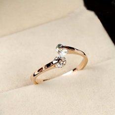 Vogue Lady Kristal Cincin Pertunangan 18 K Emas Diisi USA Ukuran