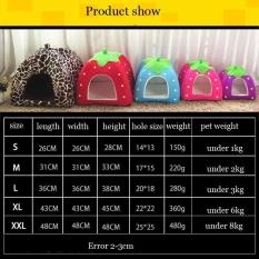 VORSTEK Lipat Lembut Strawberry Strawberry Gua Tempat Tidur Anjing Murah Leopard Print Cute Anjing Kecil-Pink XL-Intl