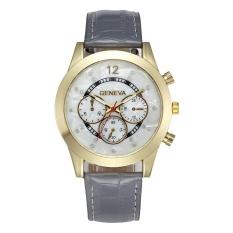VORSTEK GENEVA 8422 Wanita Pria Asli Palsu Bata dengan Diamond Bahasa Inggris Watch Grey-Intl