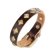 VR_Tech Leather Bracelet (Brown) - intl