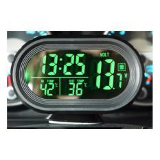 VST 4 in 1 Extreme LCD Display Jam Alarm Voltase Suhu Dalam dan Luar untuk Mobil LED Hijau