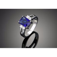 VVIP Jewelry Cincin Berlian Lapis Emas Putih Batu Kotak Persegi Biru