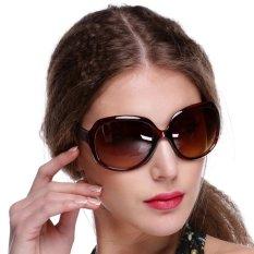 Wanita Gaya Retro Vintage Warna Fashion Terlalu Gede Lensa Kacamata Hitam Desainer Mengemudi Luar Ruangan Kacamata Menggunakan Coklat