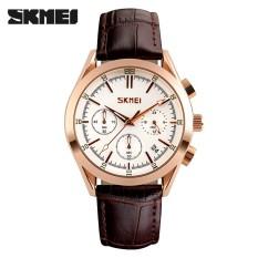 SKMEI Watch 9127 Pria QUARTZ Jam Tangan Fashion Casual Watch Leather Strap Kalender Lengkap Man Jam Tangan Auto Tanggal Mewah Male Clock -Intl