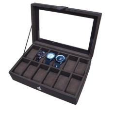 Watch Box / Tempat Jam / Kotak Jam Tangan Isi 12 - Full Coklat