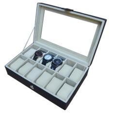 Watch Box / Tempat Jam / Kotak Jam Tangan Isi 12 - Hitam-Cream