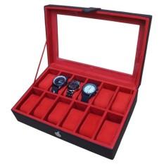 Watch Box / Tempat Jam / Kotak Jam Tangan Isi 12 - Hitam-Merah