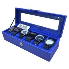 Watch Box / Tempat Jam / Kotak Jam Tangan Isi 6 - Biru