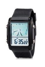Harga Watch Skmei 0814G Unisex Dual Jam Tangan Pria Hitam Rubber Baru Murah
