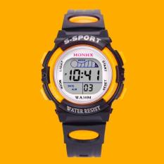 Harga Waterproof Children Boys Digital Led Olahraga Watch Kids Alarm Tanggal Watch Hadiah Kuning Intl Led Ori