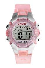 Tahan Air Anak-Anak Perempuan Memimpin Kuarsa Digital Alarm Jam Tangan Olahraga Terkini Berwarna Merah Muda