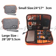 Spesifikasi Waterproof Double Layer Cable Storage Bag Electronic Organizer Gadget Travel Bag Usb Earphone Case Digital Organizador(Grey) Intl Dan Harga