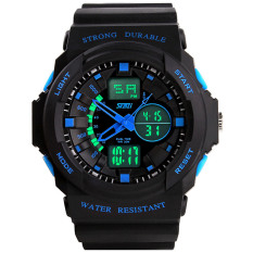 Beli Waterproof Led Digital Sports Military Wrist Watch Stopwatch Dual Time Zone Display Wristwatch For Men Blue Hong Kong Sar Tiongkok