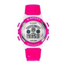 Beli Waterproof Mens Boys Led Digital Quartz Alarm Tanggal Olahraga Wrist Watch Hot Pink Cicilan
