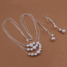 Perangkat Perhiasan Pernikahan Belanja Online untuk Wanita Pesta Tembaga Kalung/Anting-Anting Kalung Bola Anting Berlapis Perak-Intl