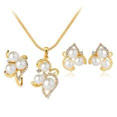 Pernikahan Set Perhiasan Emas Kalung Mutiara Imitasi Kristal Cincin Anting-anting Wanita Hadiah-Internasional