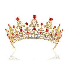 Toko Perhiasan Rambut Pengantin Pernikahan Pesta Paduan Merah Rhistone Tiara Mahkota Terlengkap