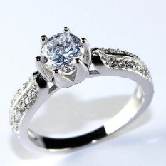 Cincin Kawin untuk Wanita Hari Valentine Silver Plated CZ Berlian Perhiasan Cincin Promosi Grosir Womens Rings Y027-Intl