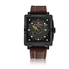 wedzwe NAVIFORCE new men's watch calendar week waterproof quartz watch fashion belt (yellow)