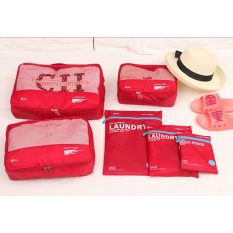Jual Beli Weekeight Tas Travel Organizer Bag In Bag Korean Premium 6 In 1 V3 Red Baru Indonesia