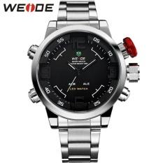 Spesifikasi Merek Pria Militer Watches Pria Mewah Penuh Baja Quartz Watch Led Display Olahraga Jam Tangan 30M Tahan Air 2309 Weide Dan Harga