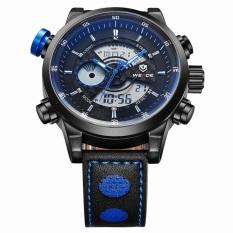 Beli Obn Men Sport Watch Leather Strap Biru Wd3401B Weide Murah