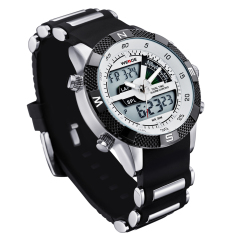Spesifikasi Weide Wh1104Pu Bw Pria Resin Band Quartz Digital Analog Wrist Watch Putih Yang Bagus