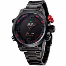 Weide WH2309 Men's Military Sports Band Digital LED Dual Time Display Jam Tangan Pria Strap Steel Band Alarm Quartz Wristwatch Wrist Watch Sporty Fashion Accessories Watch - Hitam