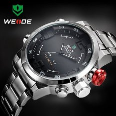 Beli Weide Wh2309 Men S Military Sports Silver Band Digital Led Dual Time Display Alarm Quartz Wristwatch Cicilan