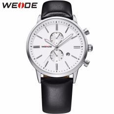 Toko Weide Wh3302 Olahraga Pria Asli Kulit Strap Stainless Steel Perhiasan Kasus Kuarsa Putih Perak International Terdekat