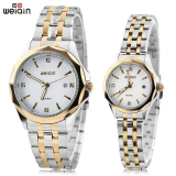 Harga Weiqin W00106 Couple Quartz Watch Artificial Diamond Dial Stereo Glass Mirror Calendar Wristwatch White Dan Spesifikasinya