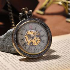 Weishi Kaos Watch Vintage Tangan Mekanik Pocket Watch Classic Steam Punk Watch dengan Rantai Reloj Bolsillo (Perunggu)