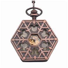 Weisizhong Antik Perunggu Merah Heksagonal Otomatis Pendant Fob Watch Retro Jam Saku Keychain Vintage Mechanical Jam Saku dengan Rantai (kuning)