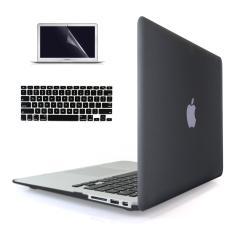 Welink 3-in-1 Apple MacBook Air 11 Inci kasus/lembut - Touch keras kasus penutup plastik + tutup keyboard + Pelindung Layar untuk Macbook Air 11 Inci (Hitam)